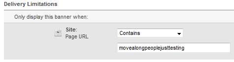 Add a delivery limitation for a partial web page URL
