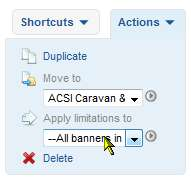 Apply the delivery limitations on a banner to other banners